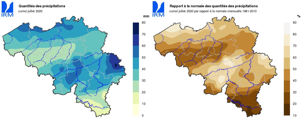 Comparaison des précipitations: en juillet 2020 elles atteignent seulement entre 20 et 30% des quantités normales pour un mois de juillet.